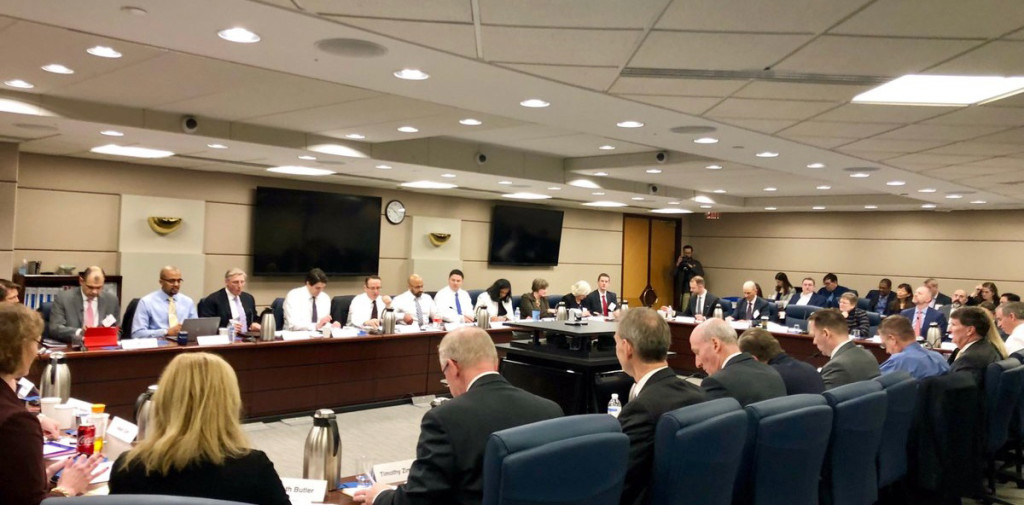 The Financial Accounting Standards Board, pictured here at a meeting in January 2019. (Financial Accounting Standards Board)